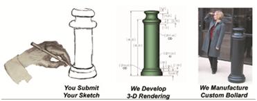 "Decorative Bollard 6"" architectural decorative bollard covers | g p roadway solutions"